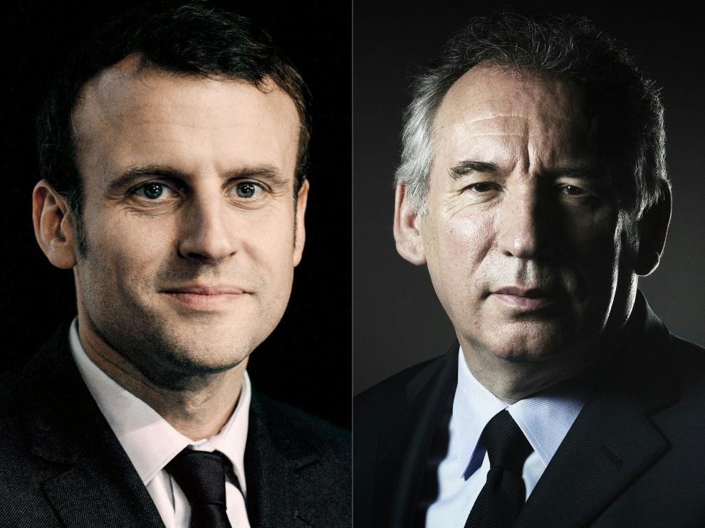Macron y Bayrou en fotos de archivo.