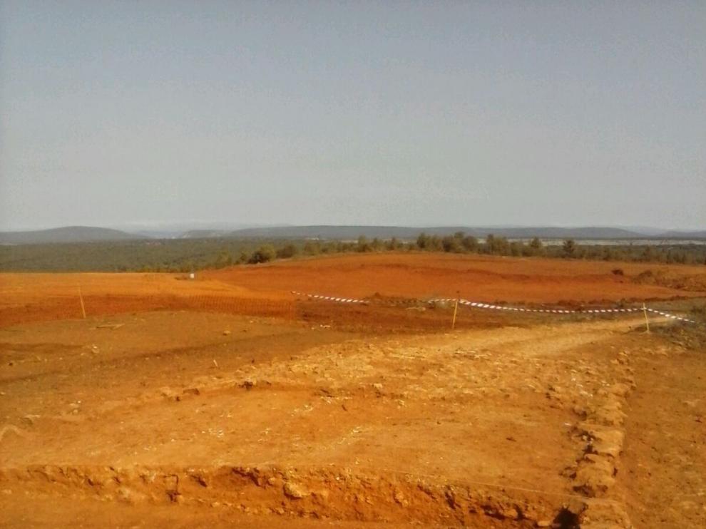 Los restos de la calzada romana descubiertos esta semana se ubican cerca de la localidad de Blacos,