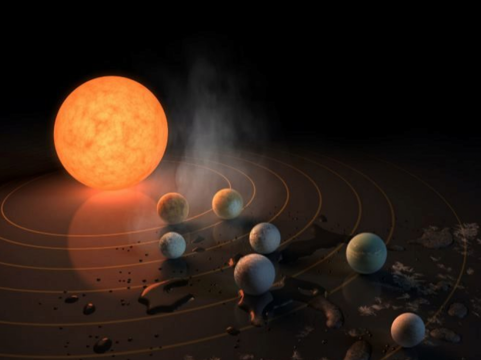 Recreación artística de la NASA de siete planetas orbitando la estrella enana roja.