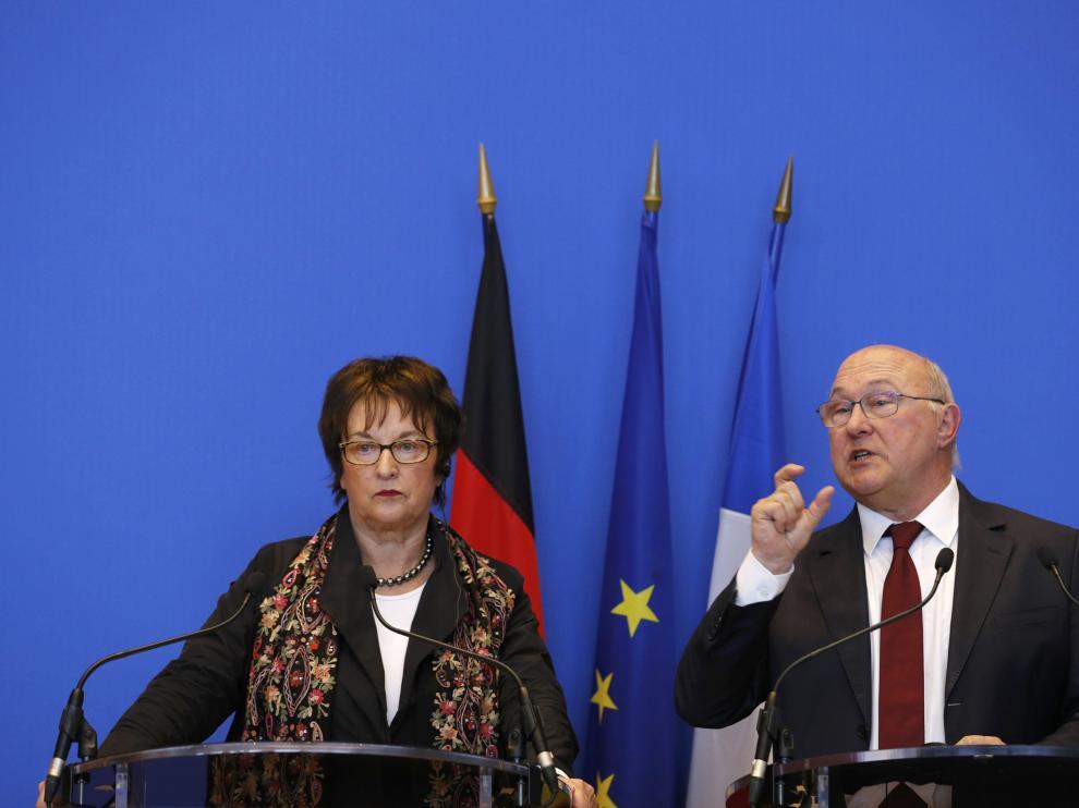 Los ministros de Economía de Francia y Alemania, este jueves en París