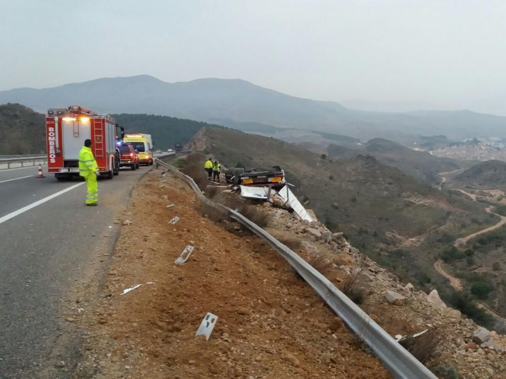 Accidente de tráfico de un camionero portugués