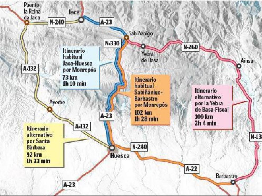Opciones de regreso hacia Huesca y Cataluña