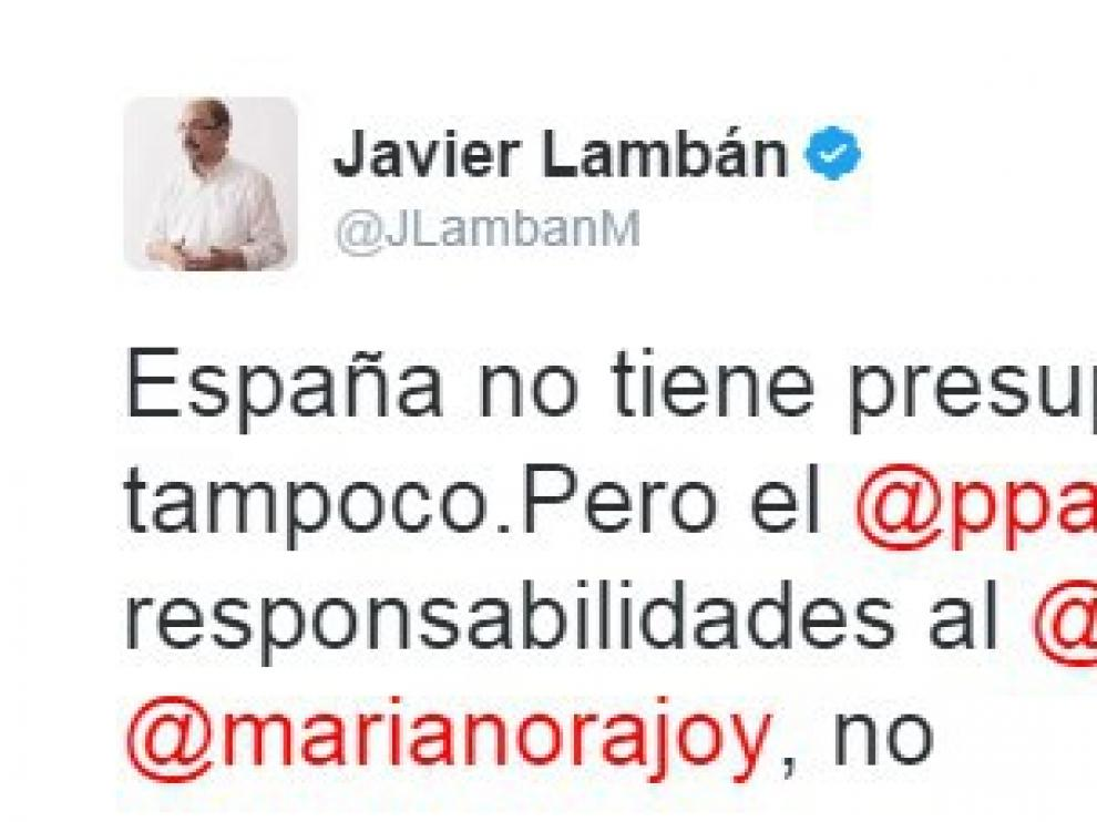 'Tuit' publicado por Javier Lambán.