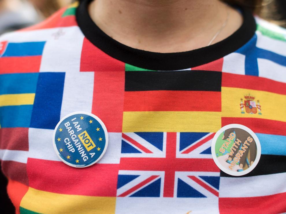 Imagen de una reciente protesta en el Reino Unido de apoyo a los inmigrantes.