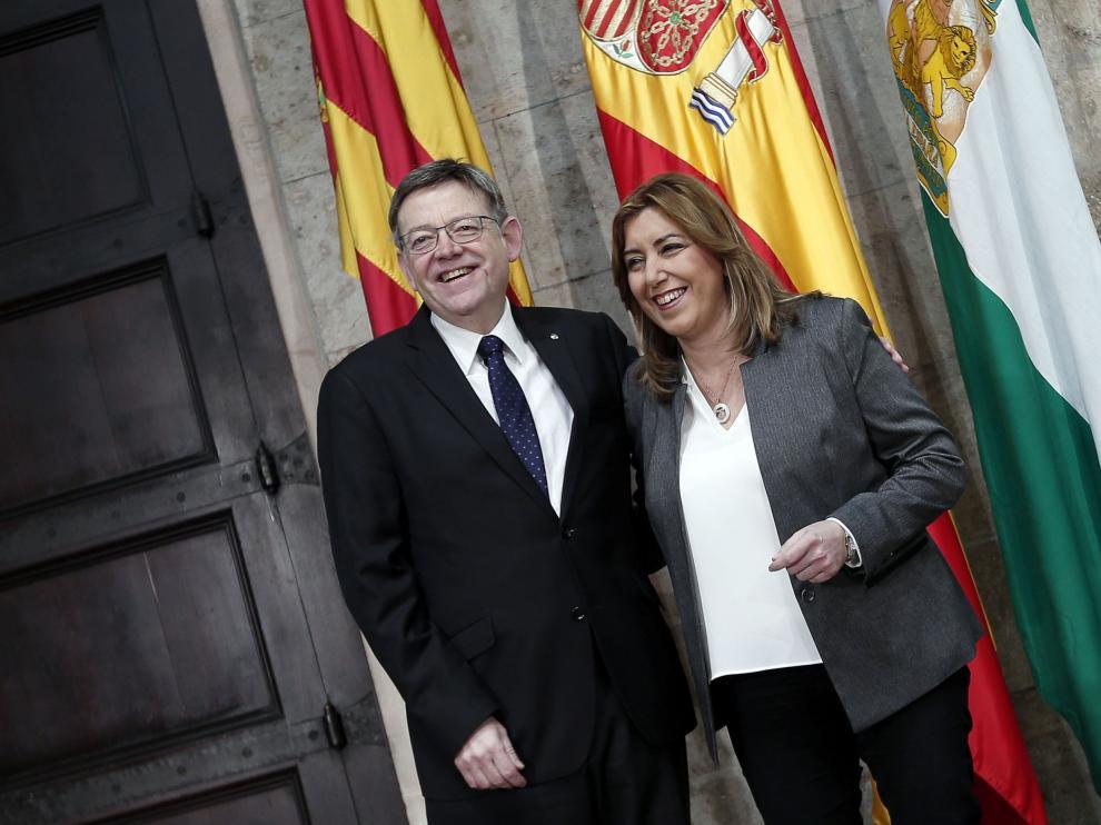 Susana Díaz, con el presidente de la Generalitat valenciana Ximo Puig
