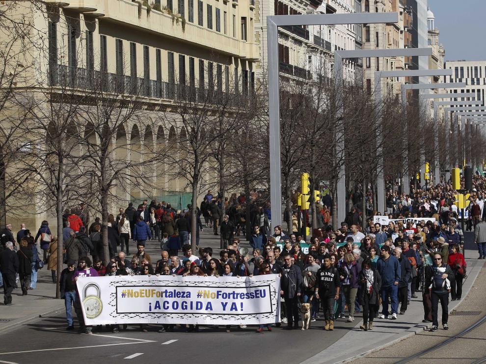 Manifestación de apoyo a los refugiados en Zaragoza
