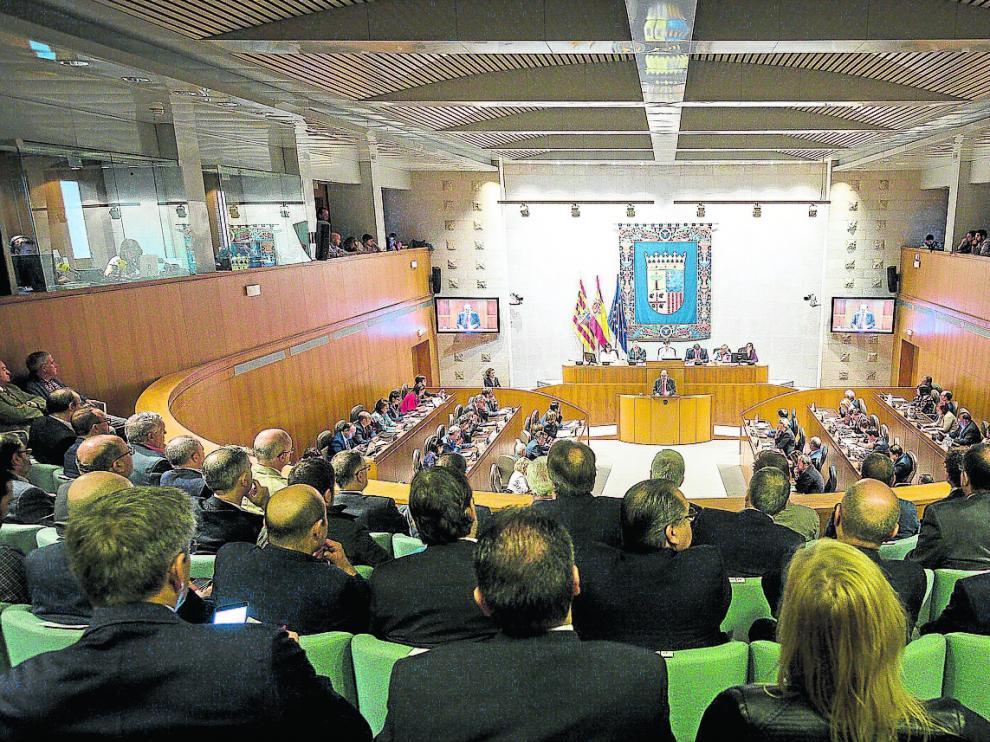 Vista del hemiciclo de las Cortes desde la tribuna de invitados durante el último debate sobre el estado de la Comunidad.