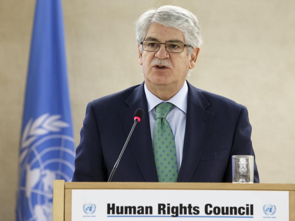 El ministro de Asuntos Exteriores y Cooperación, Alfonso Dastis, en su intervención en la ONU.