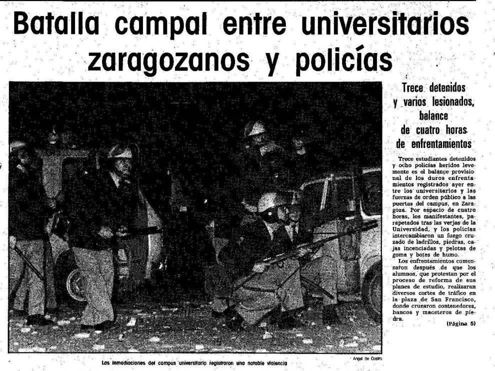 Artículo publicado en HERALDO sobre la batalla campal entre estudiantes y policía en la plaza de San Francisco hace 30 años.