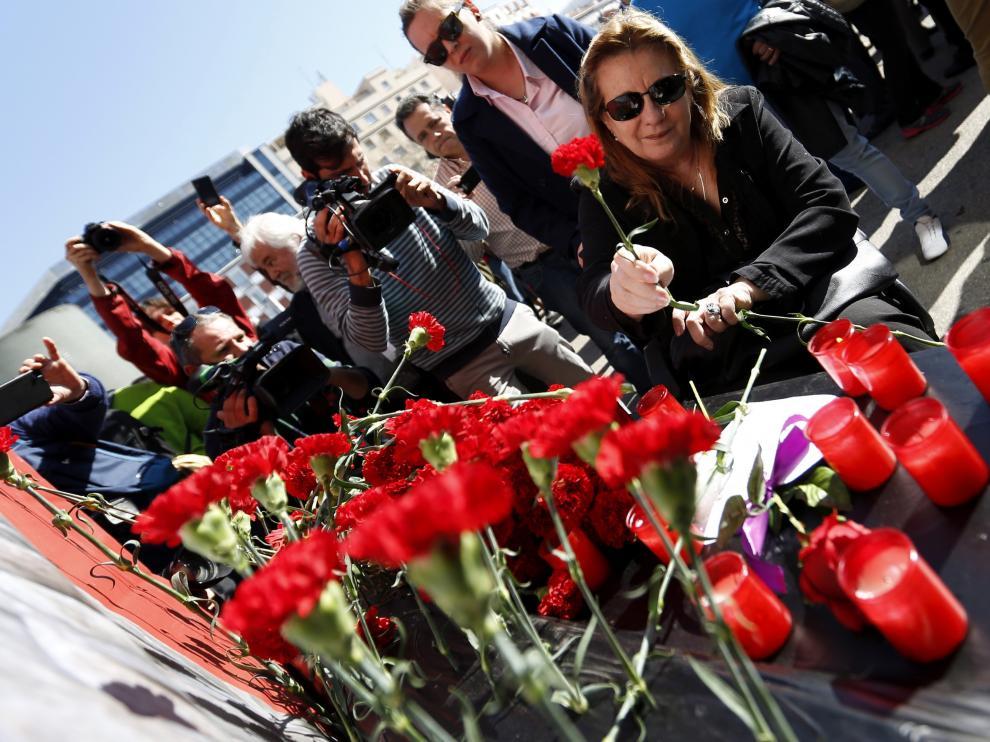 Pilar Manjón, expresidenta de la asociación de víctimas 11M, en el homenaje en Atocha.