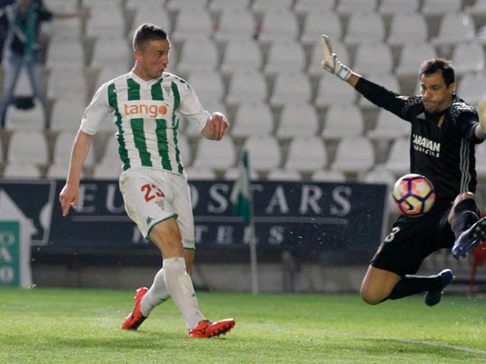 Saja encaja el 2-1 a pies de Markovic, en el minuto 94 del Córdoba-Real Zaragoza del último sábado.