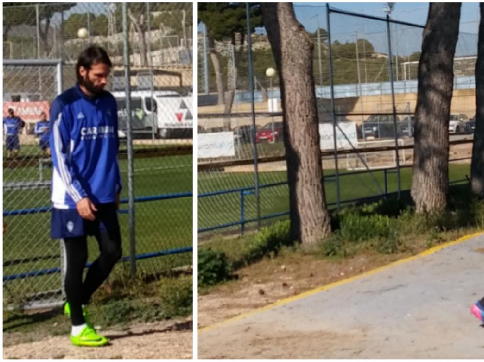 Samaras y Raí, camino de la sesión de vídeo que Raúl Agné preparó para el inicio del entrenamiento de este jueves.