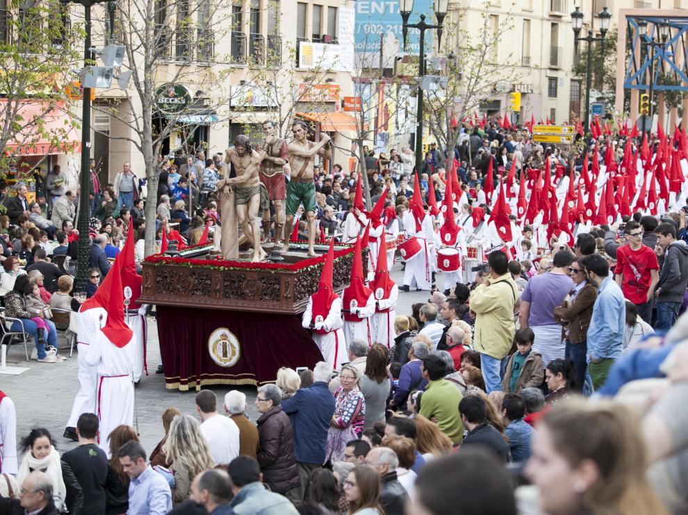 Los tambores de La Columna, que este año también celebran aniversario, el pasado Santo Entierro.