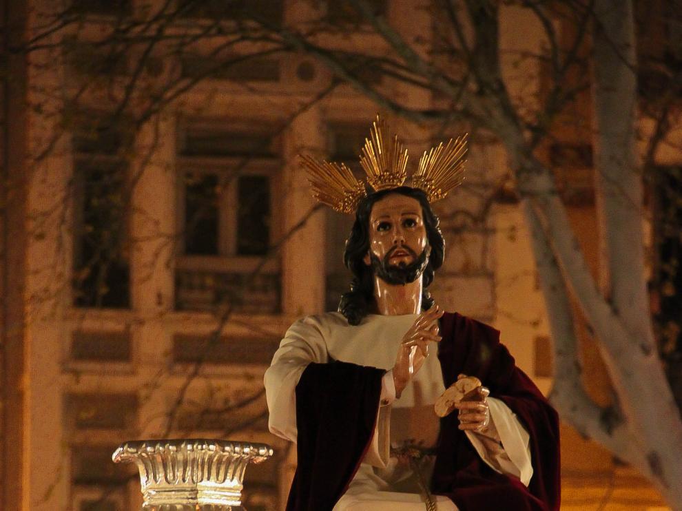 Detalle del Cristo del Amor Fraterno, uno de los pasos de Zaragoza llevado por costaleros.