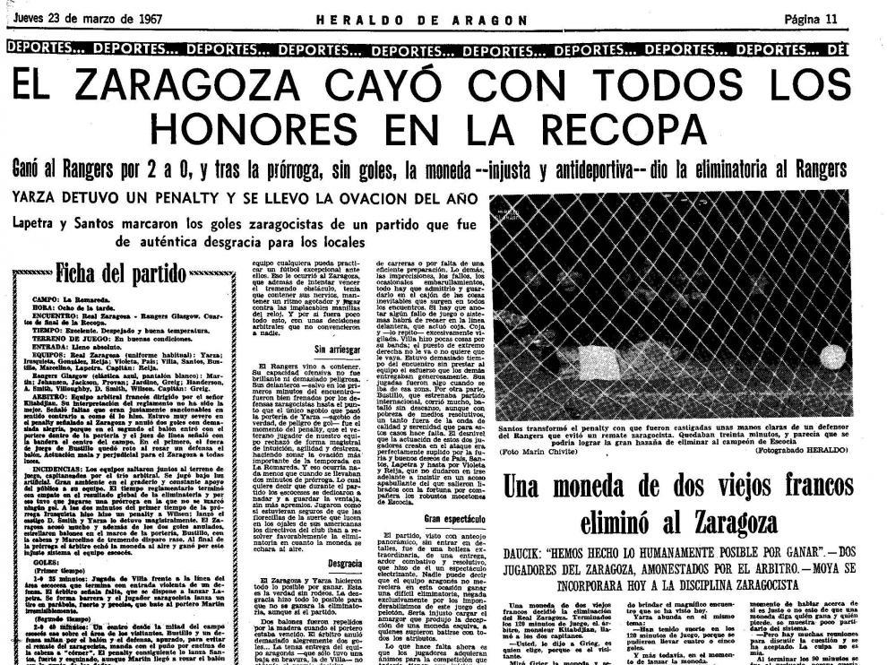 La cruz que eliminó al Real Zaragoza hace medio siglo