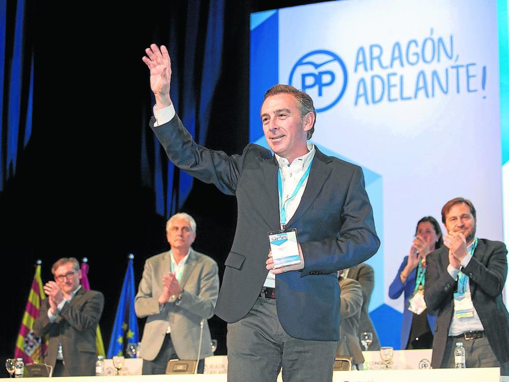 Luis María Beamonte, tras ser elegido casi por unanimidad como nuevo presidente del PP de Aragón.