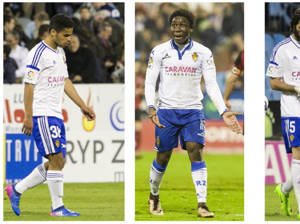 Raí Nascimento, Dongou y Samaras, los tres delanteros que optan a sustituir al sancionado Ángel ante el Valladolid.