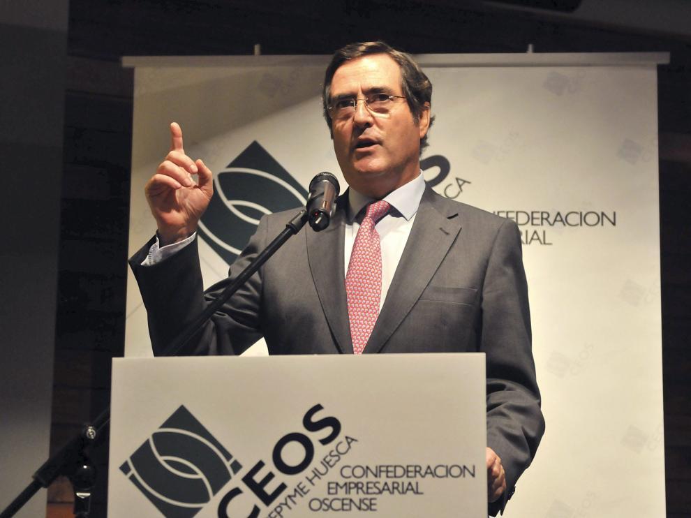 Antonio Garamendi, presidente de Cepyme, en septiembre de 2016 en Huesca.