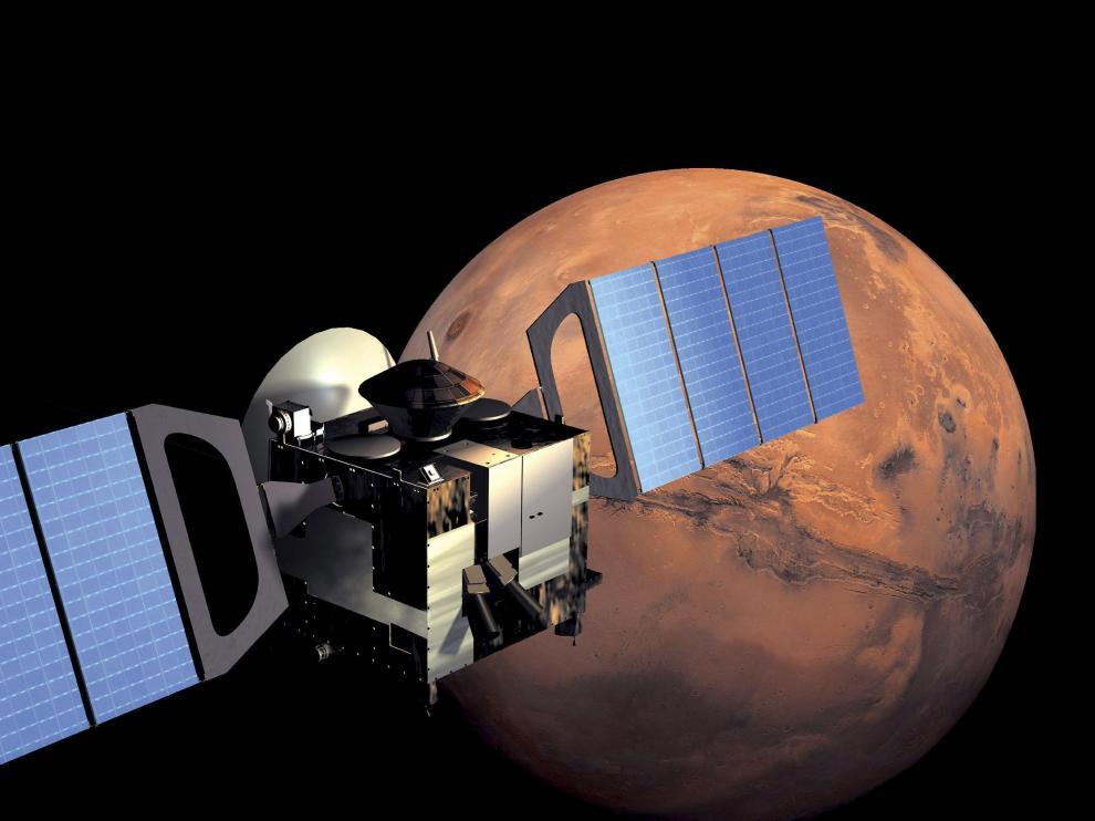 La sonda Mars Express, con Marte al fondo.