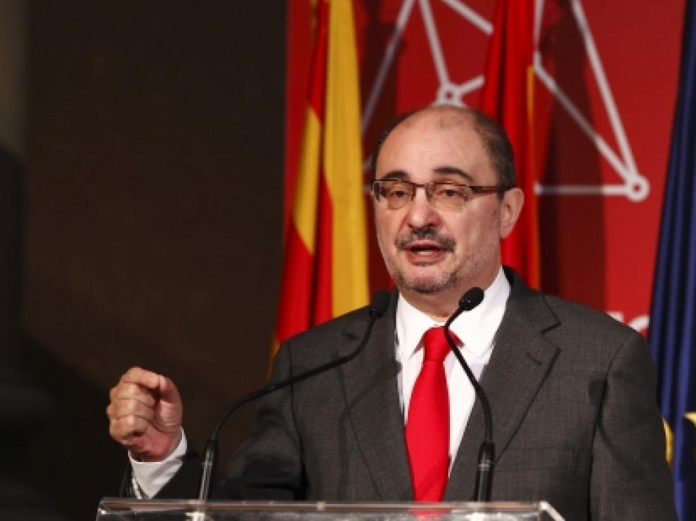 Javier Lambán en la presentación de 'Aragón, Plataforma Logística'.
