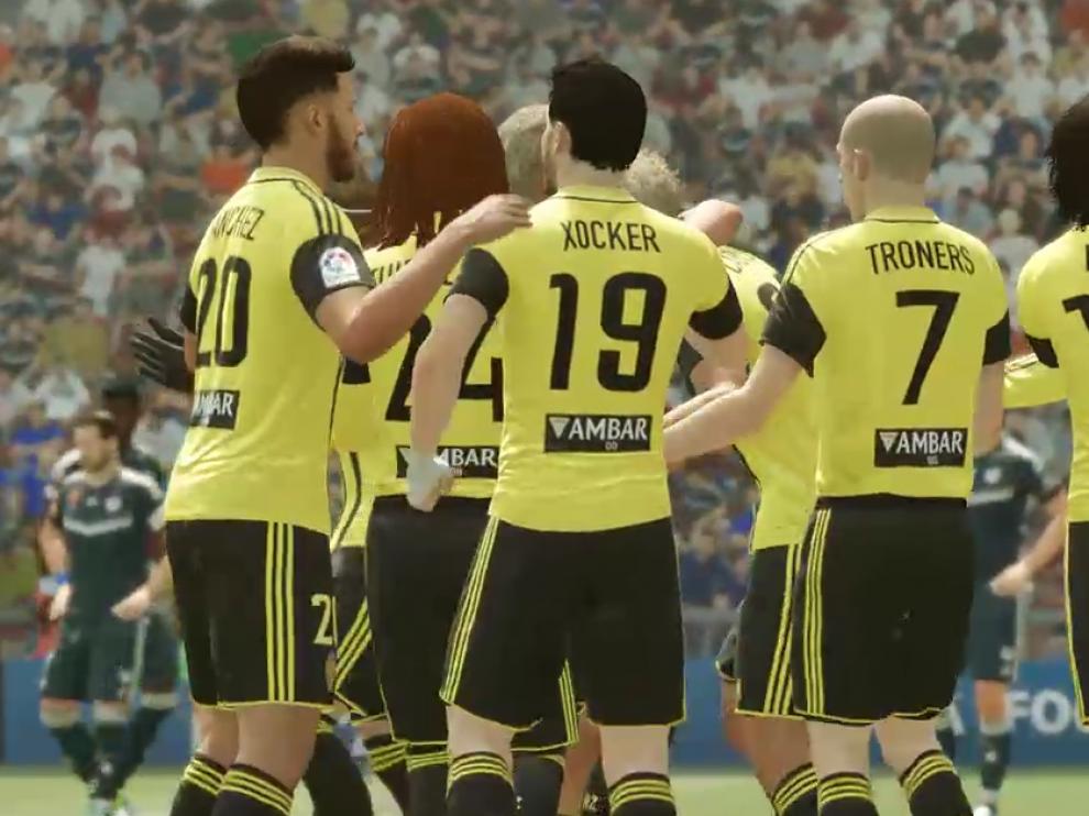 Los jugadores virtuales del Zaragoza celebran un triunfo durante la temporada.