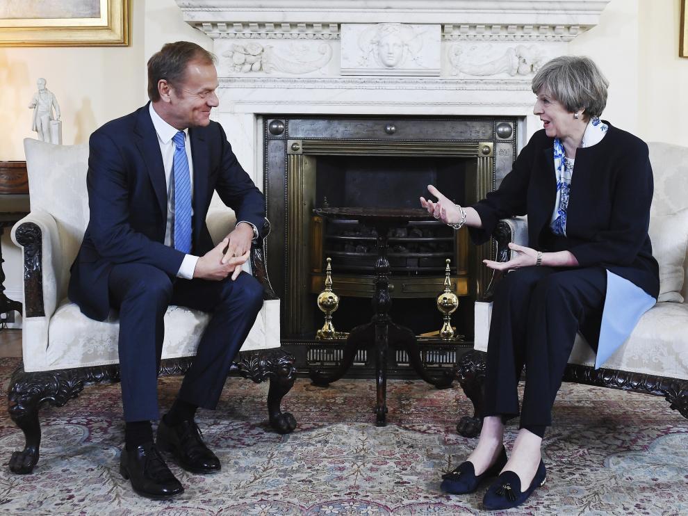 La primera ministra británica, Theresa May, y el presidente del Consejo Europeo, Donald Tusk, en una foto de archivo.