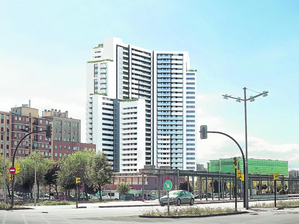 Recreación del bloque de pisos desde la Avenida Navarra.