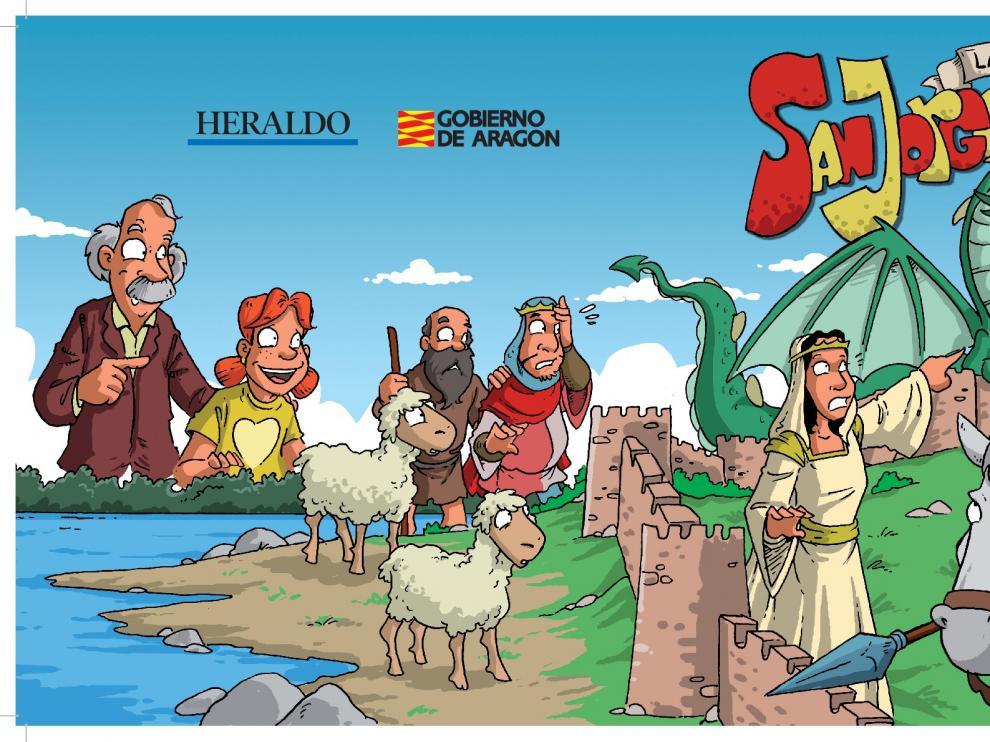 Imagen de portada y contraportada elaborada por Moratha para el cómic de San Jorge, que saldrá publicado con HERALDO el viernes.