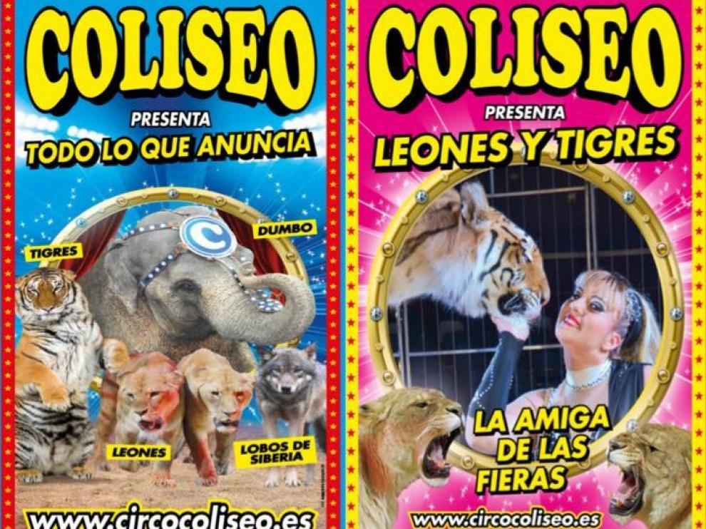 Carteles de las funciones que anuncia el circo.