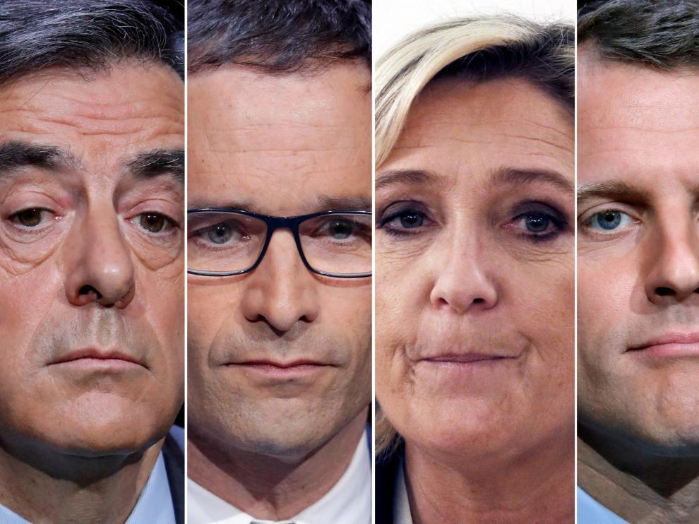 Los principales candidatos a las elecciones presidenciales francesas.