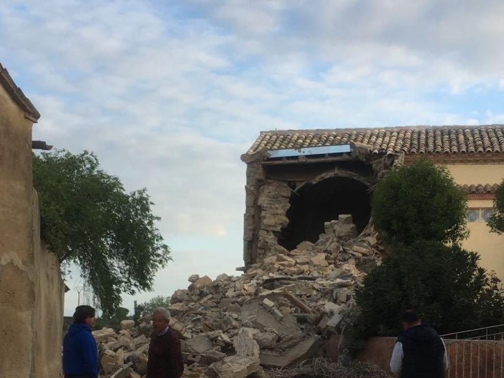 Se ha derrumbado la torre de la iglesia de Torres de Barbués.