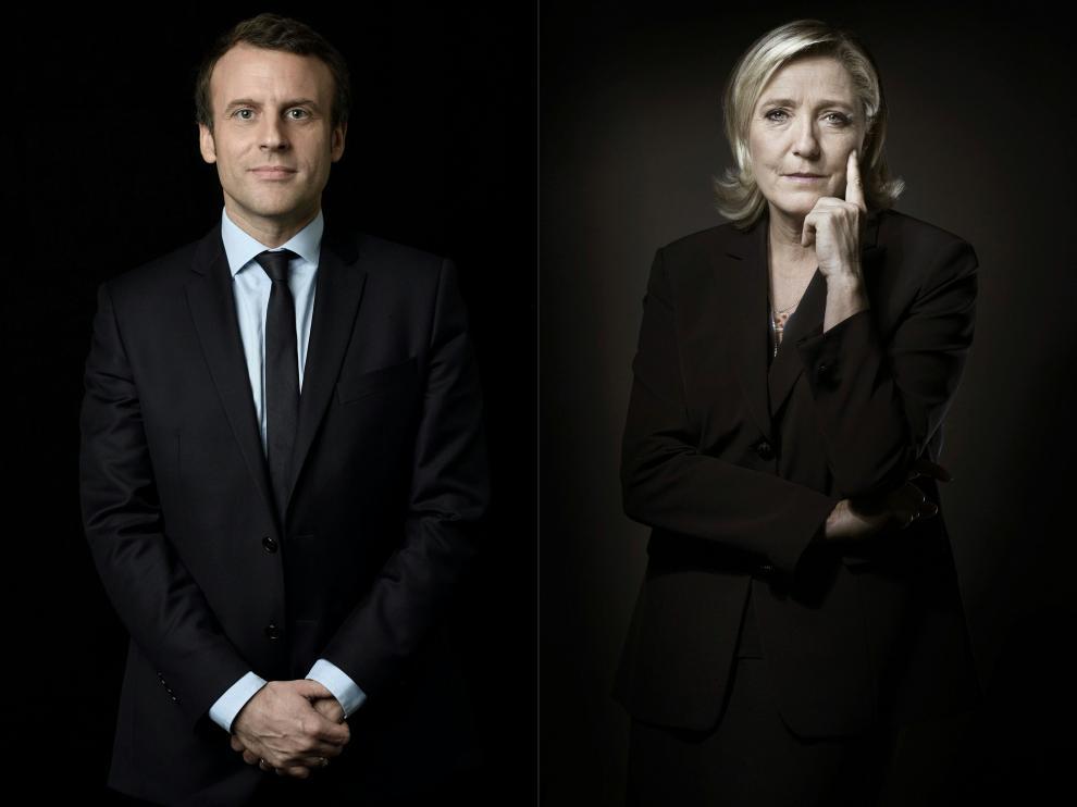 Combo de imágenes de Macron y Le Pen.