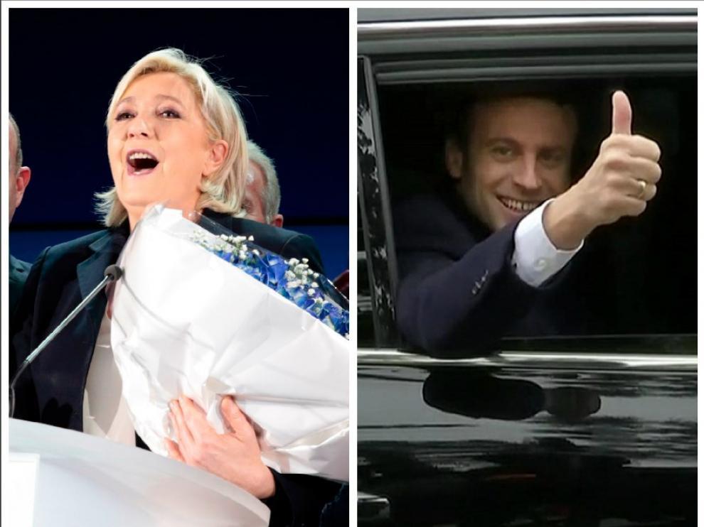 Le Pen y Macron en fotos de archivo.