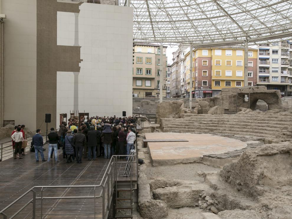 Imagen de archivo del Teatro Romano de Zaragoza.
