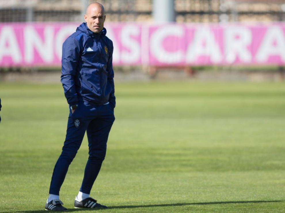 César Láinez, en un entrenamiento del Real Zaragoza.