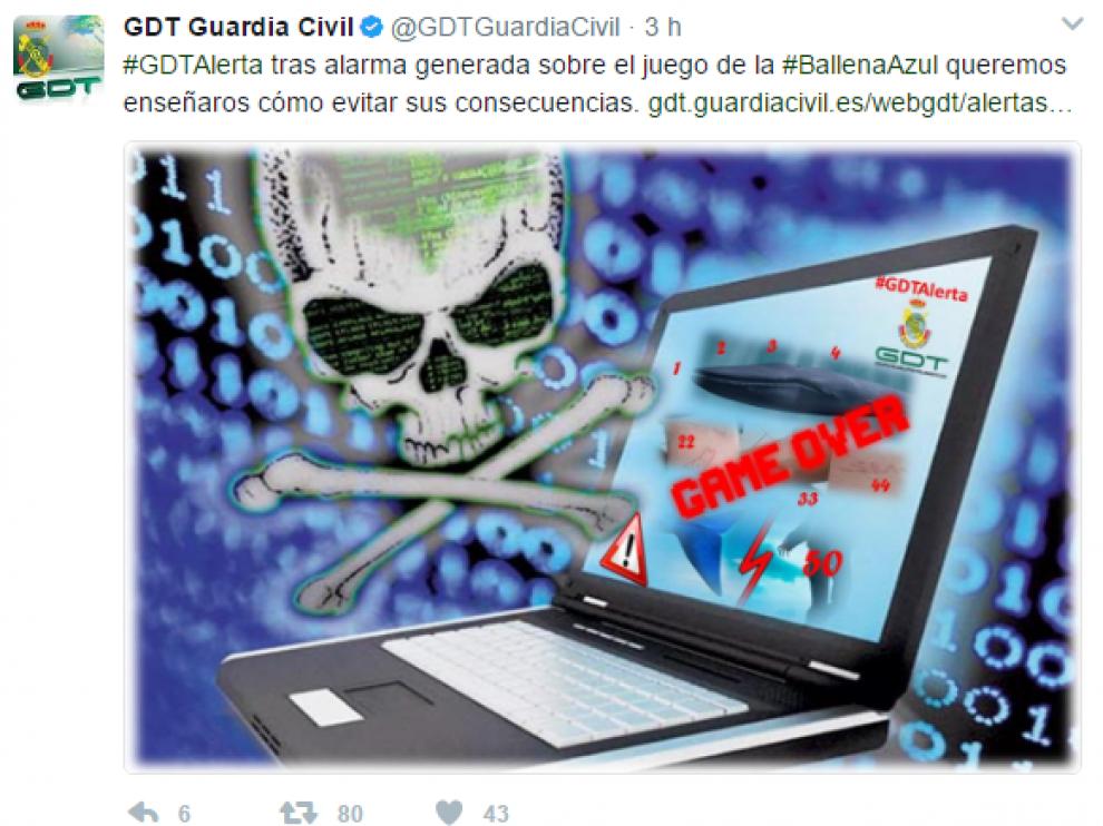 La Guardia Civil ha detectado posibles casos del juego 'la ballena azul'