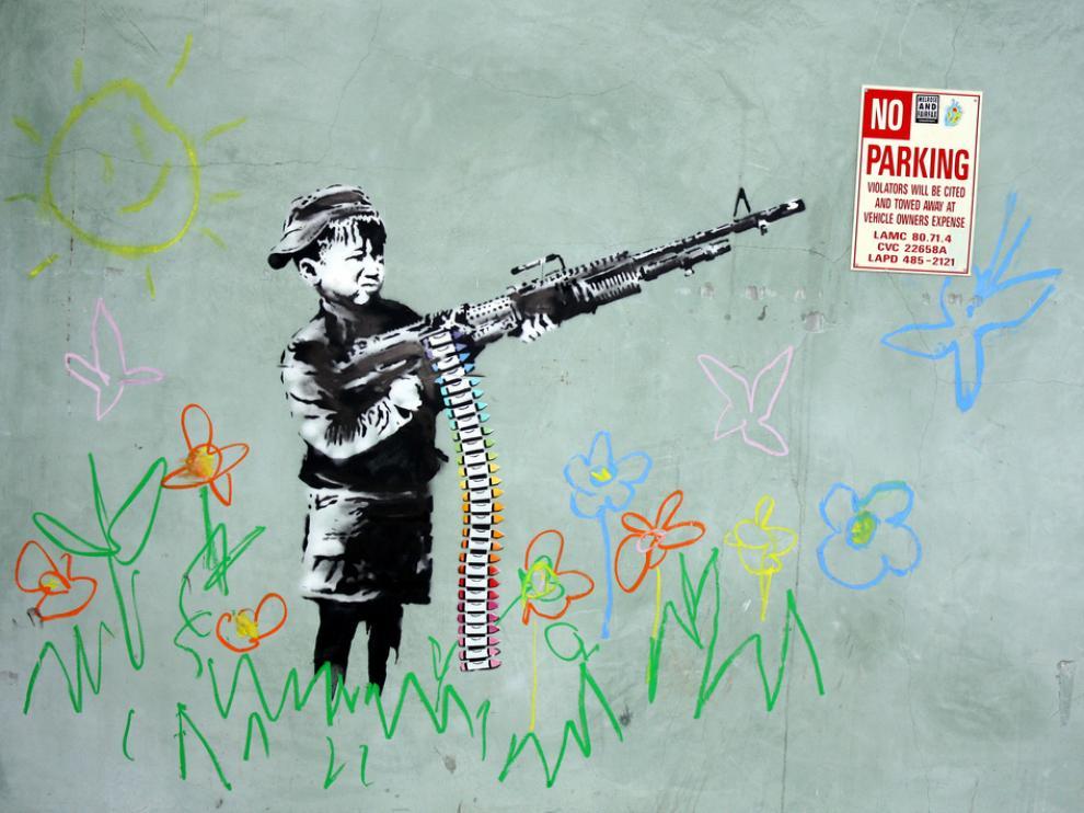 Una de las obras murales de Banksy.