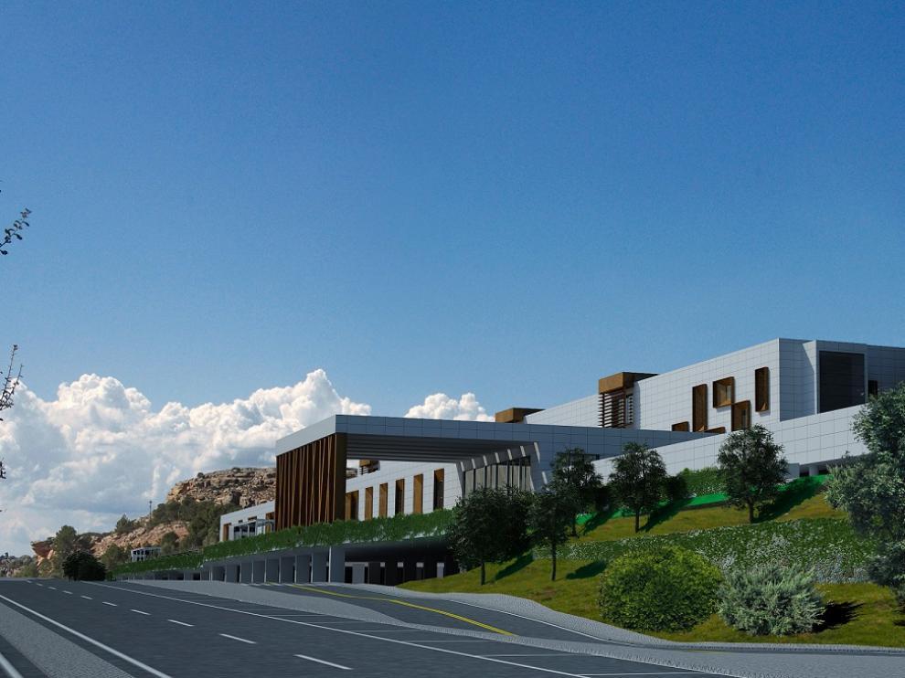 Recreación virtual del hospital de Alcañiz.