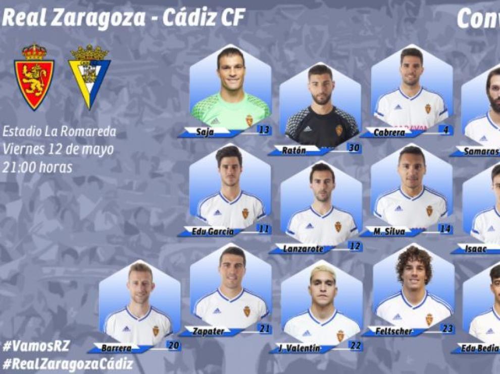 Lista oficial de convocados del Real Zaragoza para el partido de este viernes ante el Cádiz en La Romareda.