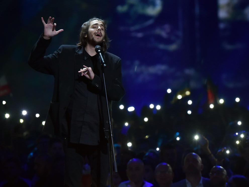 El representante de Portugal en el festival de Eurovisión 2017, Salvador Sobral, durante su actuación el pasado martes en la primera semifinal.