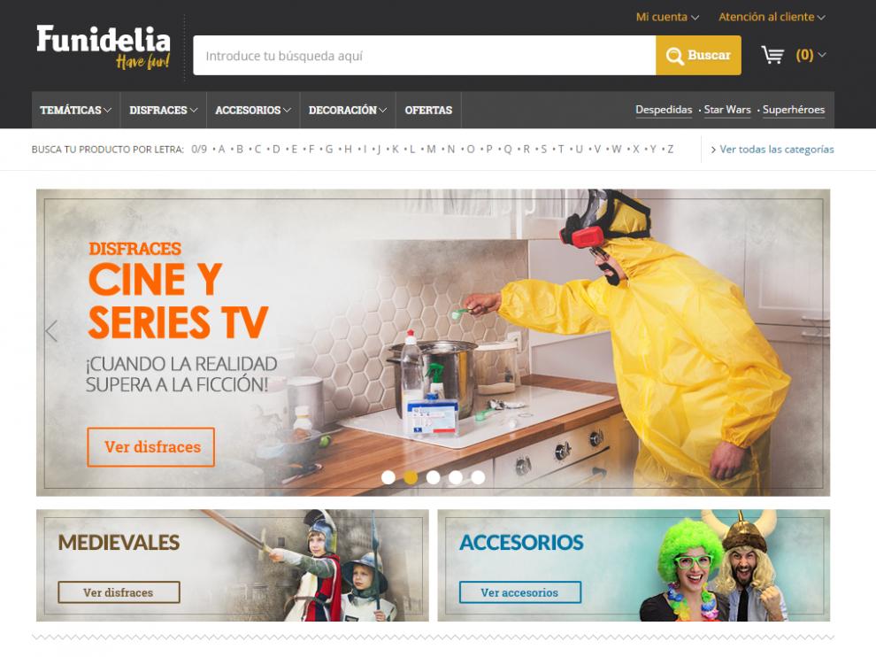 Página web de la empresa oscense Funidelia, una de las que más ha crecido en Europa en el sector de tiendas virtuales.