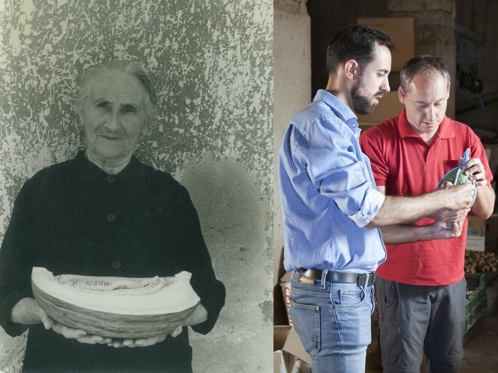 Foto histórica de una vecina con un melón de Torres de Berrellén y los dos vecinos que han impulsado ahora su recuperación.