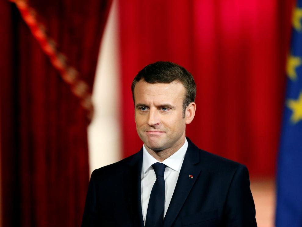 Emmanuel Macron en su ceremonia de toma de posesión