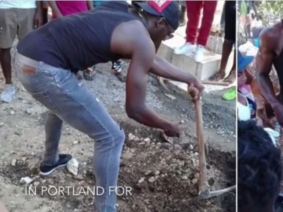 Usain Bolt cava la tumba de Germaine Mason