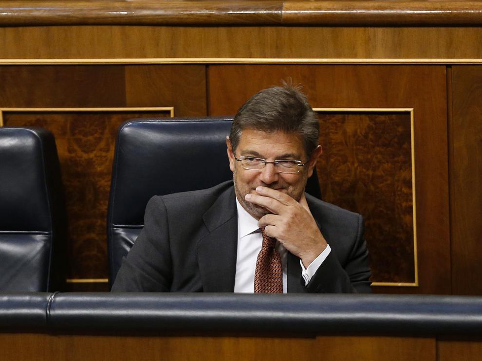 El ministro Rafael Catalá durante la sesión en el Congreso
