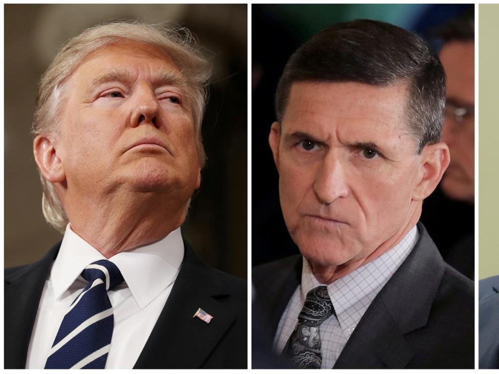 Donald Trump, Michael Flynn yJames Comey.