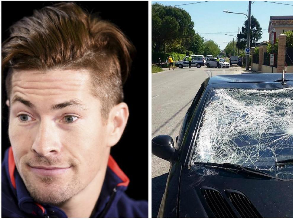 Foto de archivo de Hayden y otras de cómo quedó el coche y la bicicleta tras el atropello.