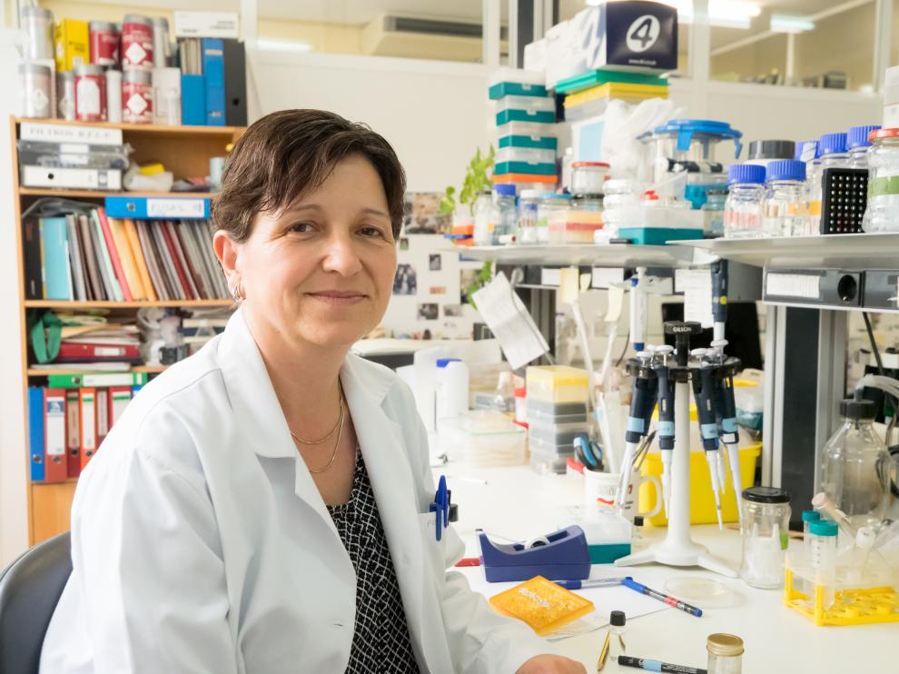 La investigadora Ana Bigas, coordinadora de grupo de investigación en Células Madre y Cáncer del IMIM, en una visita a la Facultad de Medicina de Zaragoza.