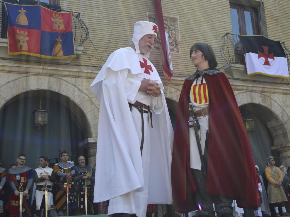 Guillén de Mont-Rodón y Jaime I, durante la recreación celebrada en Monzón.