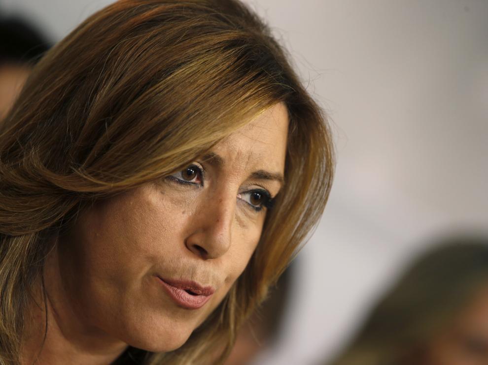Susana Díaz este domingo por la noche en Ferraz.